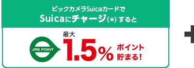 ビックカメラSuicaカードのSuicaにクレジットチャージするとJRE POINT1.5%ポイント貯まる!