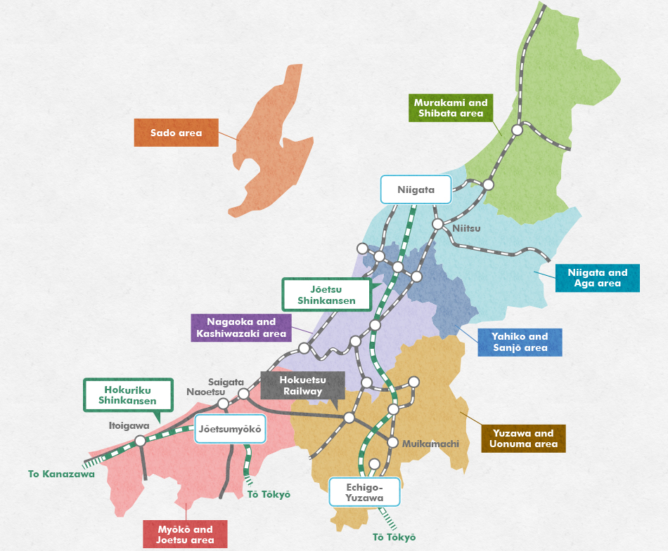 Niigata Sado Featured Destinations JREAST - Joetsu map