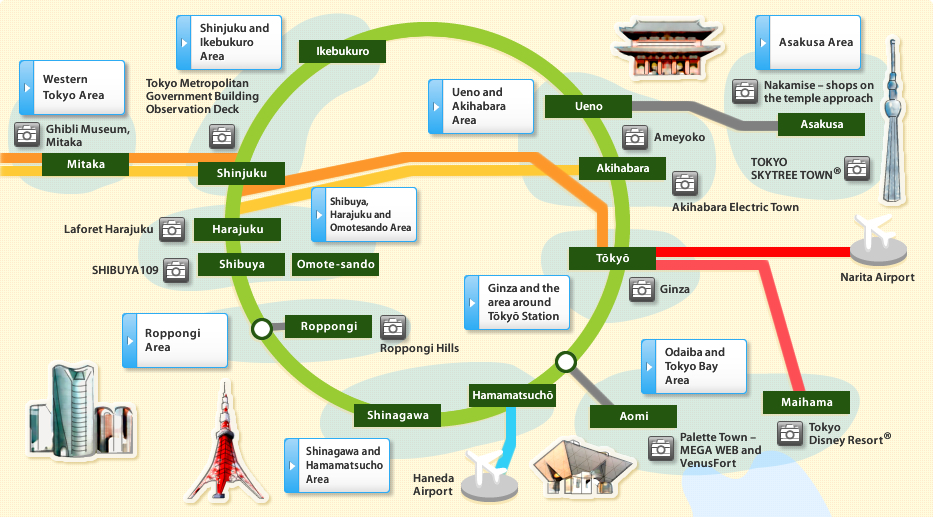 Tokyo Featured Destinations – Tourist Map Of Japan English