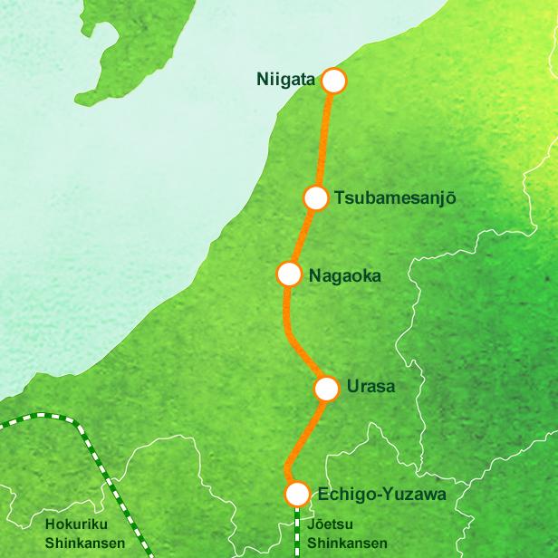 GENBI SHINKANSEN Joyful Trains JREAST - Joetsu map
