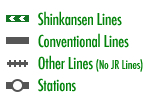 Shinkansen Lines Conventional Lines Other Lines (No JR Lines) Stations