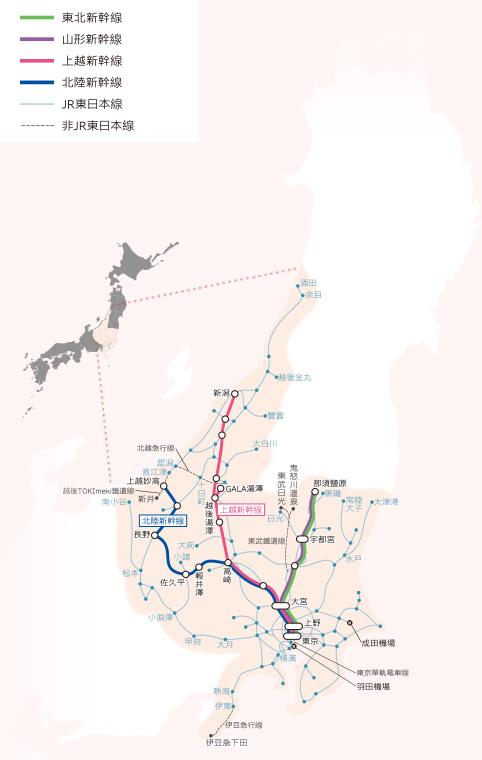 JR東日本鐵路周遊券 (長野、新潟地區) 可使用範圍