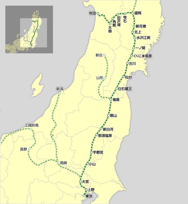 「秋田新幹線 路線図」の画像検索結果