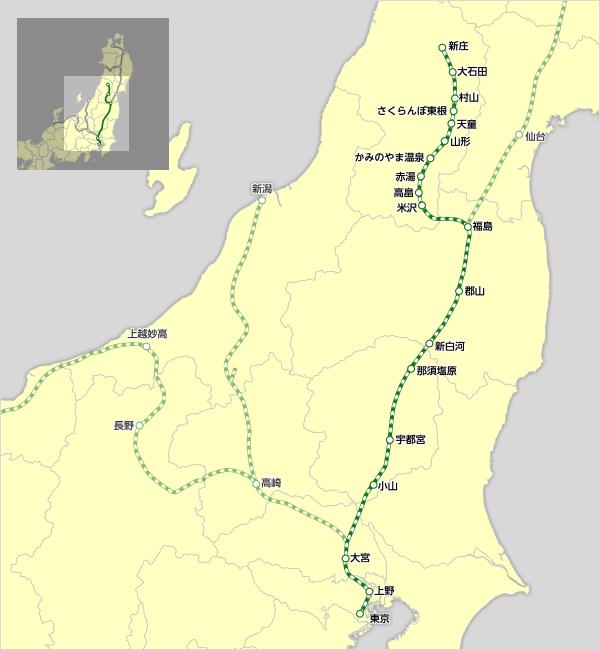 「山形新幹線 路線図」の画像検索結果